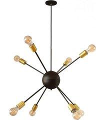 pendente mini togo 8 lustres preto/cobre - pd110/8pt_co - kin light - kin light