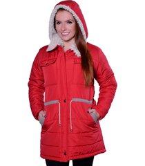 casaco sobretudo carbella carbella frio extremo vermelho - kanui