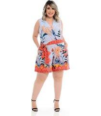 roupas plus size domenica solazzo macaquinho azul - tricae