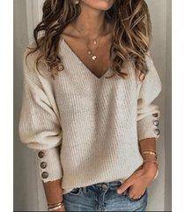 botón casual diseño suéter de manga larga con cuello en v