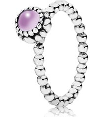 anel de prata pontos com ametista - fevereiro