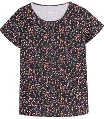 camiseta m/c mini flores color negro, talla l