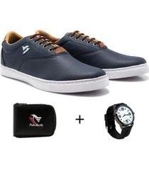 sapatênis polo north masculino conforto + carteira + relógio - masculino