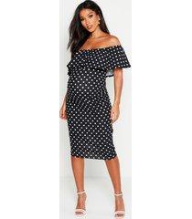 maternity bardot polka dot ruffle midi dress, black