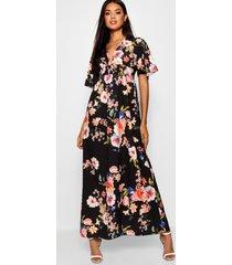 bloemenprint maxi jurk met kapmouwen en geplooide taille, zwart