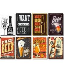 kit placas decorativas bebidas bar cervejas mdf - 8 placas - vermelho - dafiti