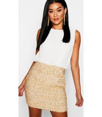 2 in 1 chiffon top sequin skirt bodycon dress, ivory