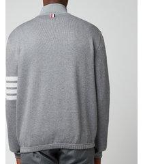 thom browne men's four-bar stripe funnel zip neck sweatshirt - medium grey - 1/s