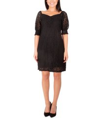 ny collection petite lace sweetheart-neck dress