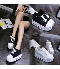 zapatos de lona de cuñas zapatos vulcanizados plataforma mujer-negro