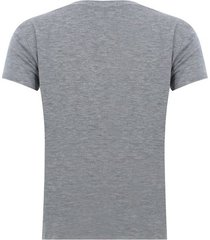 camiseta con screen cuello v color gris, talla l