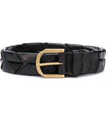 ajmone crocodile-effect braided belt - black