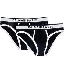 balmain slip logo lingerie in black cotton