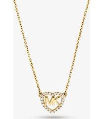 mk collana con logo a forma di cuore in argento sterling placcato in metallo prezioso - oro (oro) - michael kors