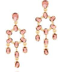 brinco bijoulux candelabro cristais roxo semi jóia