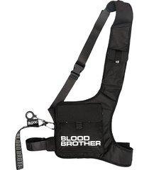 blood brother logo print oval backpack - black