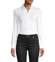 donna karan new york women's spread-collar long-sleeve bodysuit - black - size l