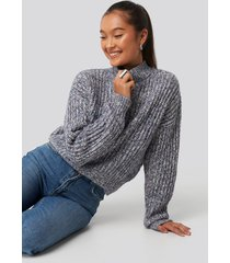 na-kd multi color wide rib knitted sweater - blue