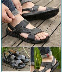 sandalias hombre piel gamuza