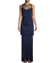 tiered fringe illusion top gown