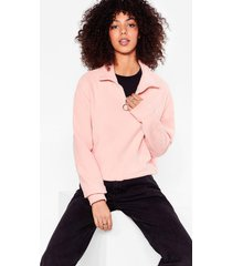 womens let it o-ring cropped high neck sweatshirt - peach
