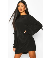 crew neck tie sleeve detail shift dress, black
