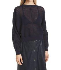 women's boss feesa cotton & silk mesh sweater, size large - blue