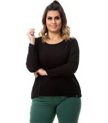 blusa manga longa básica com elastano plus size feminina