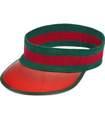 gucci vinyl visor with web - green