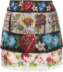 dolce & gabbana beaded fringe floral skirt - multicolour