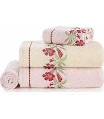 jogo de toalhas de banho e rosto karsten caren algodão rosa e natural 4 peças
