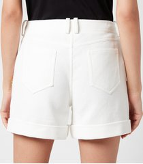 balmain women's low rise cotton pique shorts - blanc - fr 40/uk 12