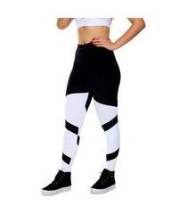 calça legging miss blessed estilosa preto e branco