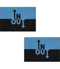 2 tapete capacho emborrachado 60x40cm inou - azul - feminino - dafiti
