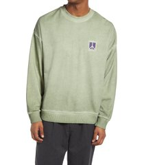 men's saturdays nyc ari peace men's crewneck sweatshirt, size medium - green