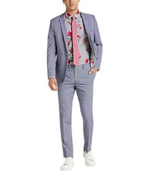 paisley & gray skinny fit suit separates jacket blue and red windowpane plaid
