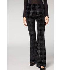 calzedonia glitter velvet flare leggings woman black size m