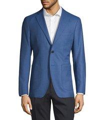saks fifth avenue made in italy men's notch lapel wool & silk blend jacket - light blue - size 38 r