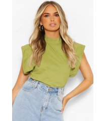woven high neck oversized shoulder detail top, olive