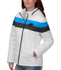 g-iii sports women's carolina panthers tie breaker polyfill jacket