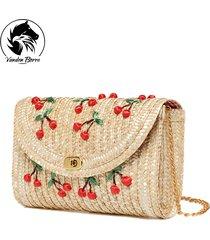 2017 summer new cherry straw messenger bags woven day clutch flap bag beach pack