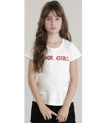 "blusa ""cool girl"" com paetês off white"
