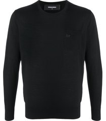 dsquared2 logo wool pullover - black