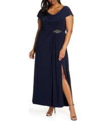plus size women's alex evenings cowl neck beaded waist gown, size 24w - blue