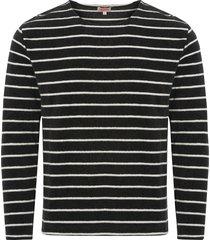 armor lux mariniere heritage towelling sweatshirt - ebony & milk 76176