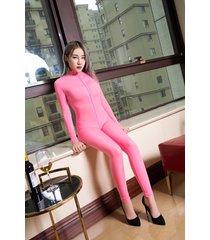 women shiny 2 two way zipper open crotch bust transparent lingerie bodysuit pink