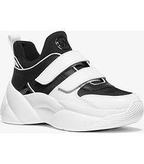 mk sneaker keeley in pelle e tela - nero/bianco (nero) - michael kors