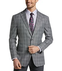 awearness kenneth cole light gray plaid slim fit sport coat