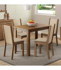 conjunto sala de jantar cãntia madesa mesa tampo de madeira com 4 cadeiras marrom - marrom - dafiti
