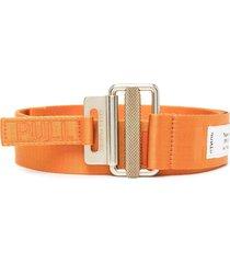 heron preston logo-woven tape belt - orange